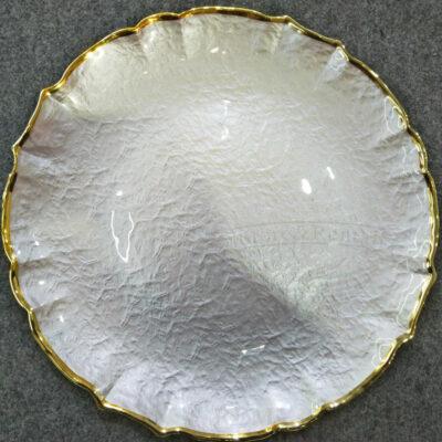 belaya podstanovochnaya tarelka s zolotym obodkom