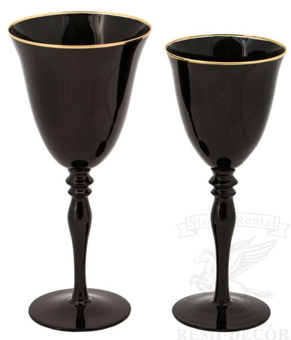 bokaly dlya vina i shampanskogo chernye s zolotym obodkom na dlinnoj nozhke kilian v prokat
