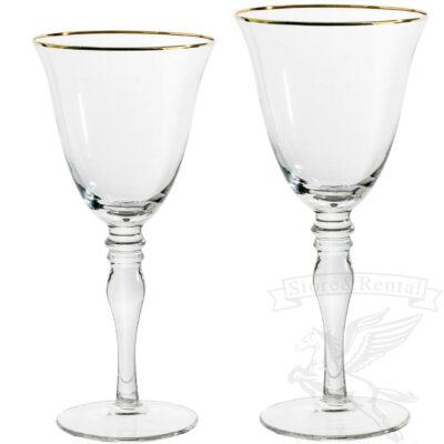 bokaly dlya vina i shampanskogo prozrachnye s zolotym obodkom na dlinnoj nozhke kilian v prokat