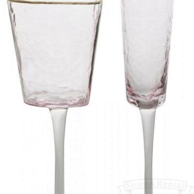 bokaly dlya vina i shampanskogo rozovo dymchatye s zolotym obodkom na dlinnoj nozhke s effektom bitogo stekla
