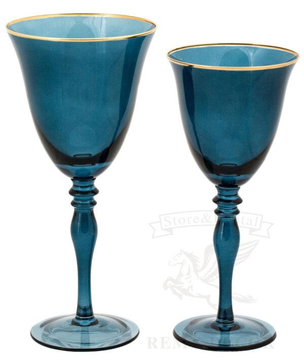 bokaly dlya vina i shampanskogo sinegocveta s zolotym obodkom na dlinnoj nozhke kilian v prokat