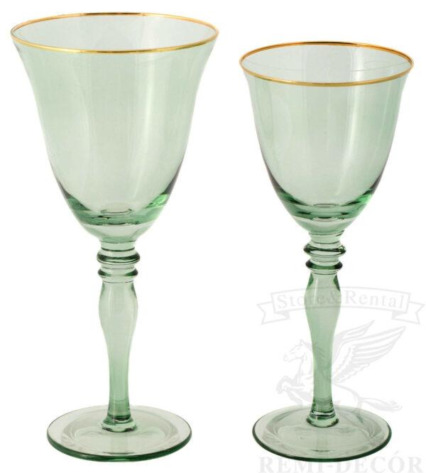 bokaly dlya vina i shampanskogo svetlo zelenye prozrachnye s zolotym obodkom na dlinnoj nozhke kilian v prokat