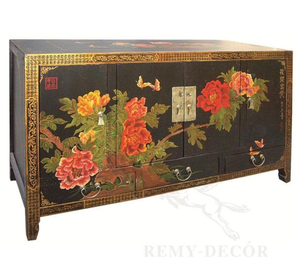 komod iz dereva chernogo cveta s cvetochnym risunkom v kitajskom stile