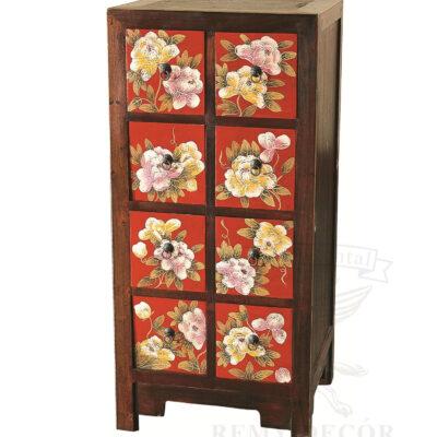 komod iz korichnevogo dereva s cvetochnym risunkom s vydvizhnymi yashhikami v kitajskom stile