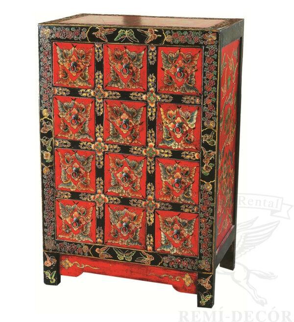 komod krasno chernyj s vydvizhnymi yashhikami s uzorami v kitajskom stile