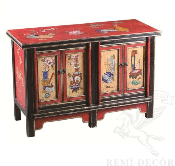 komod v tradicionno kitajskom stile krasno chernogo cveta s risunkom