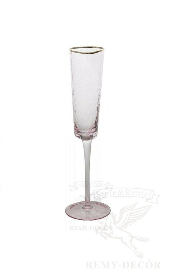 kupit bokal dlya shampanskogo v rozovm cvete s zolotym obodkom