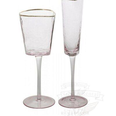 kupit bokaly dlya shampanskogo i vina v rozovm cvete s zolotym obodkom