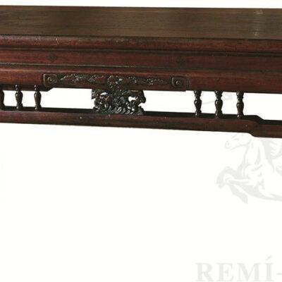 lavka stolik iz temno korichnevogo dereva v etno stile