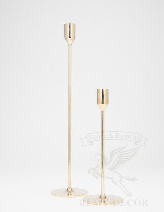 Золотой подсвечник на длинной ножке 23 см