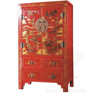 shkaf iz dereva v krasnom cvete s tradicionnym risunkom s vydvizhnymi yashhikami v kitajskom stile