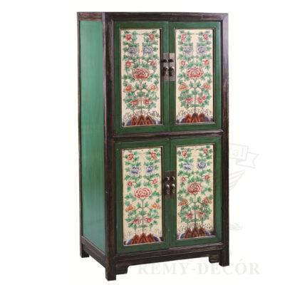 shkaf iz dereva v zelenom cvete s cvetochnom risunkom v aziatskom stile
