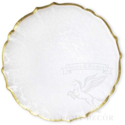belaya podstanovochnaya tarelka s zolotym kantikom