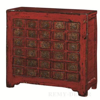 komod iz krasnogo dereva s mnozhestvom yashhikov v tradicionno kitajskom stile