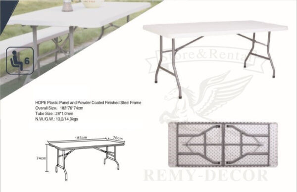 raskladnoj stol dlyakejteringa dlya banketa s metallicheskimi nozhkami belogo cveta