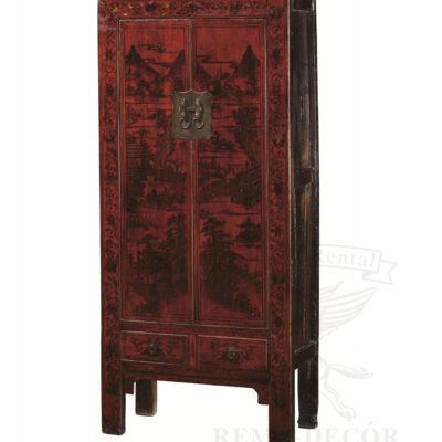 Шкаф из натурального красного дерева с рисунком