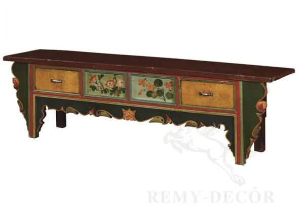 starinnyj komod iz tverdoj drevesiny s zhivopisnym risunkom i vozdushnoj rezboj v kitajskom stile