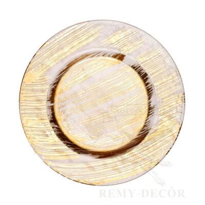 banketnaya podstanovochnaya tarelka feniks steklo s zolotom