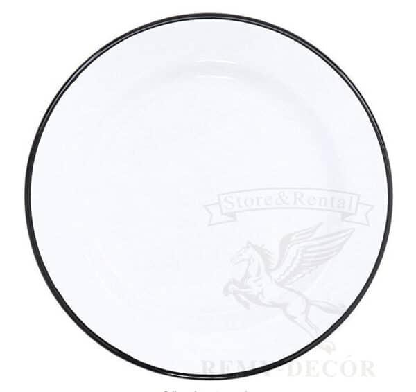 podstanovochnoe blyudo s chernym obodkom iz stekla