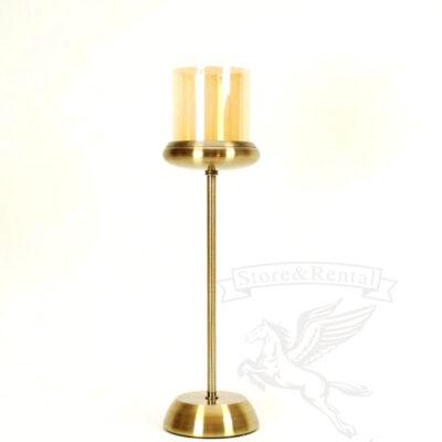 Бронзовый подсвечник на длинной ножке со стеклянным колпаком