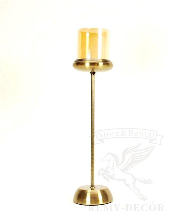 podsvechnik bronzovyj na odnu svechu so steklyannoj kolboj