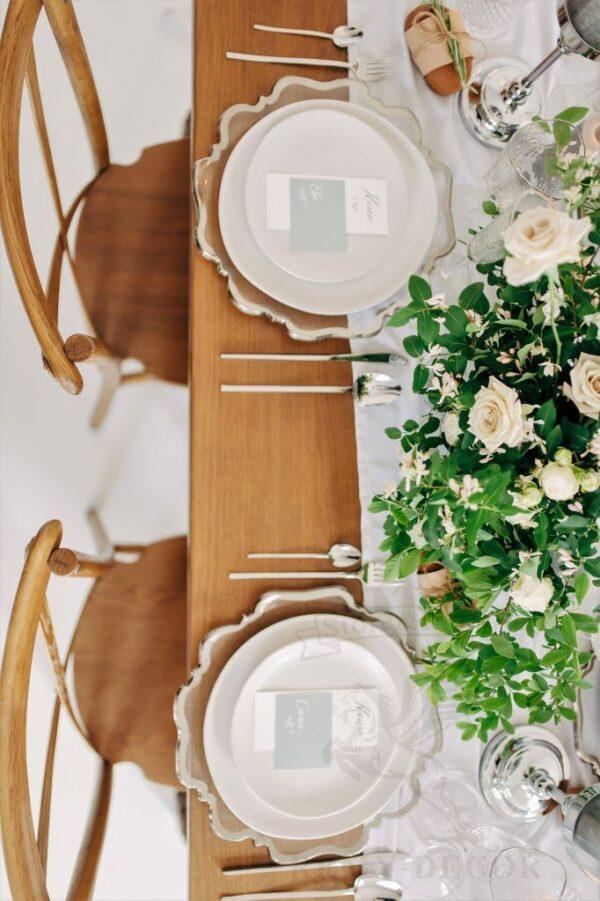 servirovka stola tarelka s serebryanym kantom remi decor