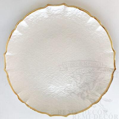 svadebnaya belaya podstanovochnaya tarelka s zolotym kantom v ukraine