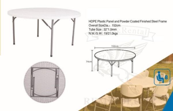 banketnyj plastikovyj stol diametrom sm s metallicheskimi skladnymi nozhkami v odesse