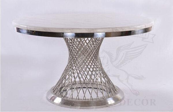 kruglyj stol iz metallicheskix prutev i mramornoj stoleshnicy remi dekor ukraina