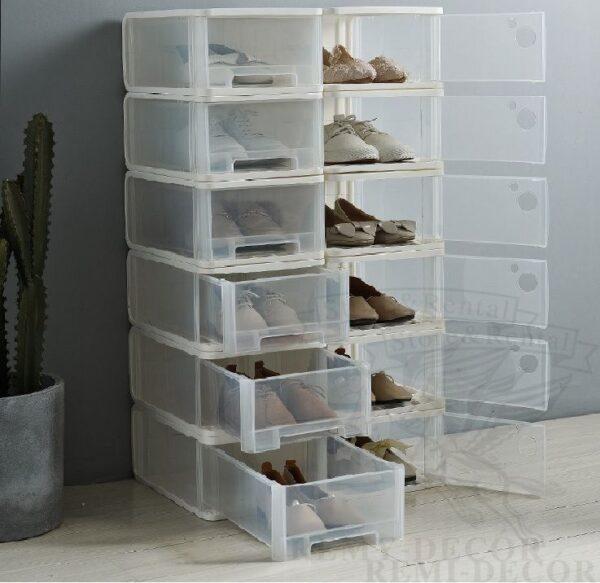 obuvnye prozrachnye korobki iz plastika dlya xraneniya obuvi doma