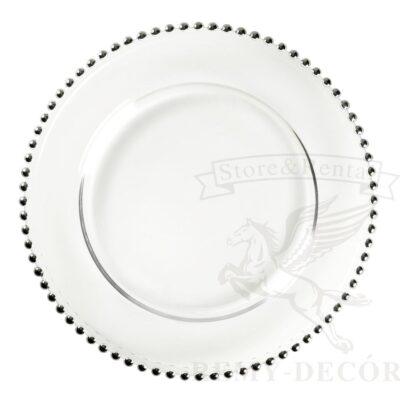 podstanovochnaya tarelka s serebryanymi businami iz stekla sm