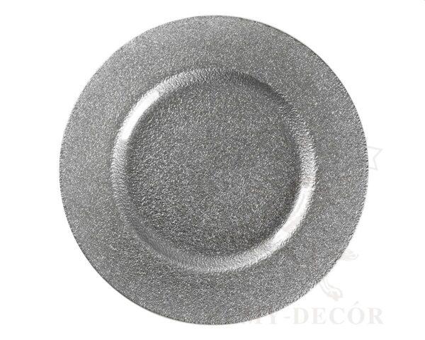serebryanaya podstavnaya tarelka iz stekla dlya banketa