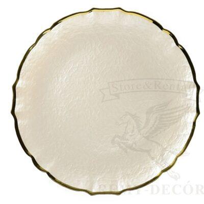 svadebnaya belaya podstanovochnaya tarelka s zolotym kantom