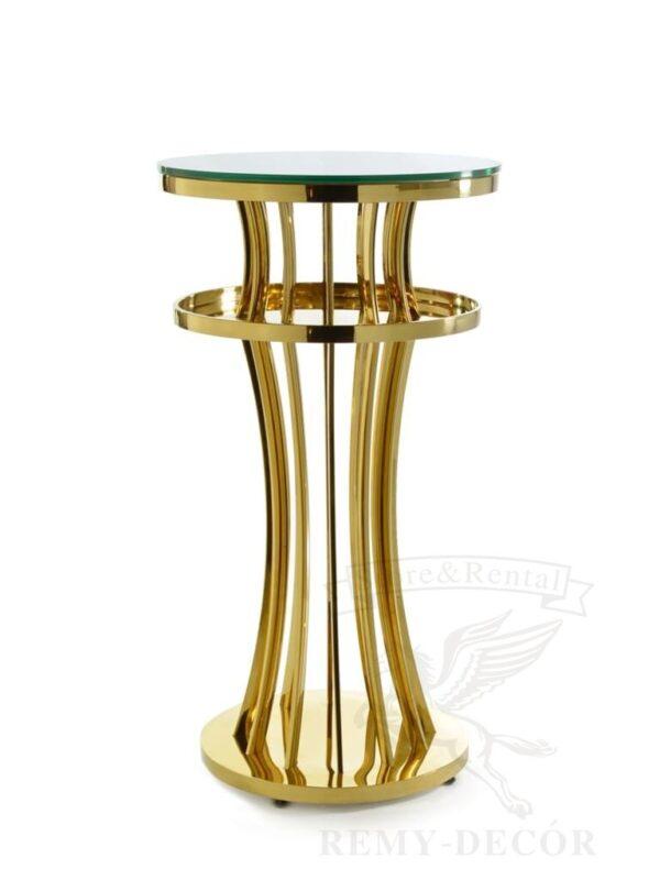pozolochenyj vysokij stol iz nerzhavejki so steklyannoj stoleshnicej