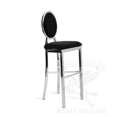 serebryanyj vysokij stul milan dlya barnyx i koktejlnyx vecherinok silver black pad