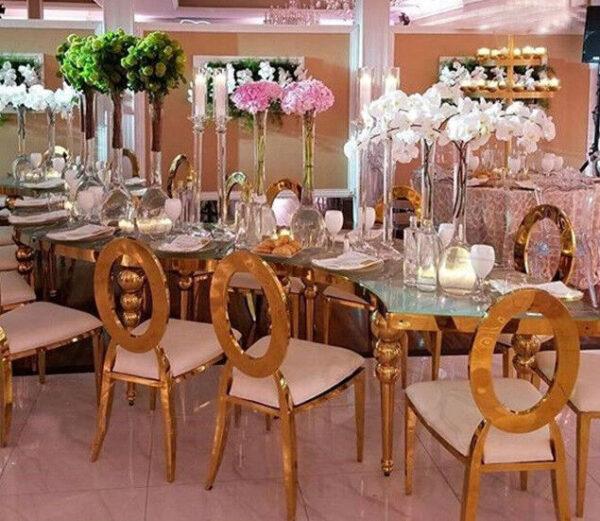 banketnyj stol polumesyac iz nerzhaveki wedding event stainless