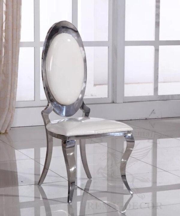serebryanye stulya dlya doma mebel iz nerzhavejki frame white leather stylish stainless