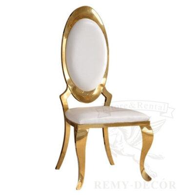 zolotoj stul s ovalnoj spinkoj tron na moshhnyx nozhkax s beloj obbivkoj