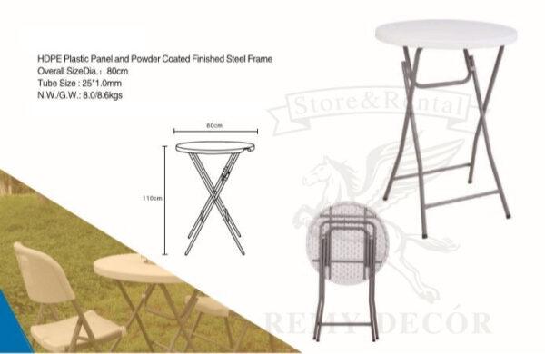 vysokij plastikovyj barnyj stolik s beloj stoleshnicej i metallicheskimi nozhkami v ukraine