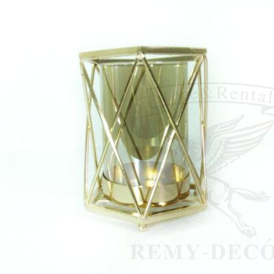 Стеклянный подсвечник в золотой оправе Golden Bowl 18 см.