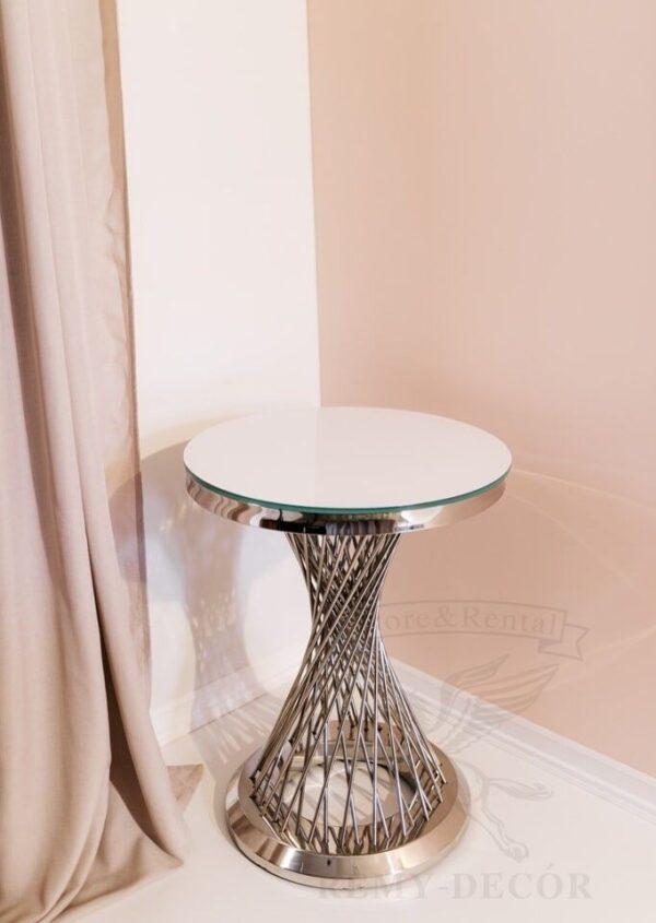 furshetnyj stolik royal gerold iz nerzhavejki s beloj stoleshnicej