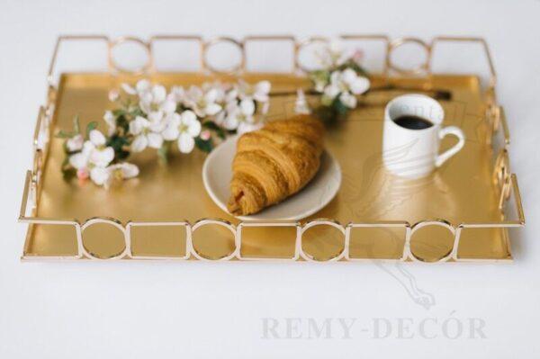 podnos dlya kofe v postel pozolochenyj pryamougolnyj