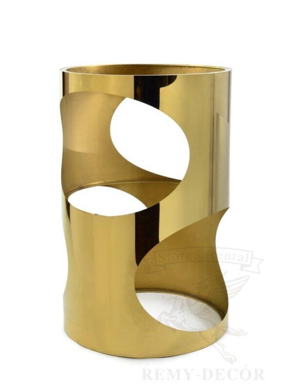 pozolochennyj stol gaudi v stile modern iz nerzhavejki dlya salona krasoty