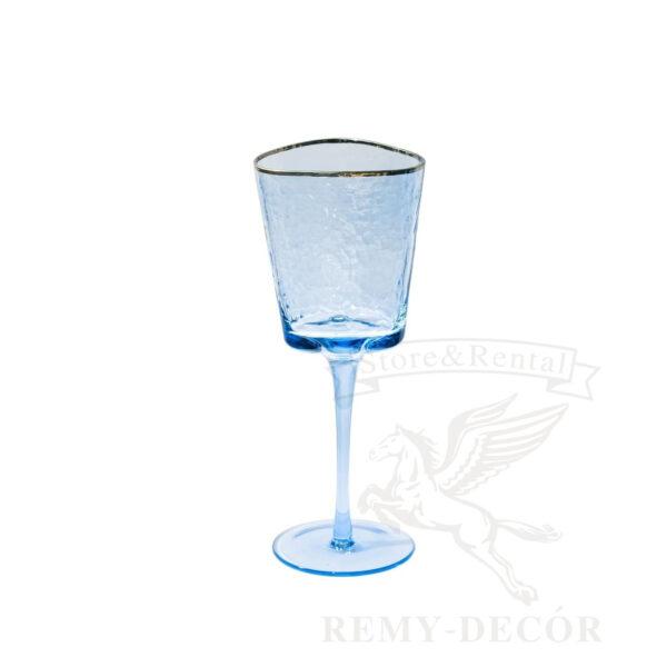 fuzher dlya vina iz sinego stekla s zolotym obodkom