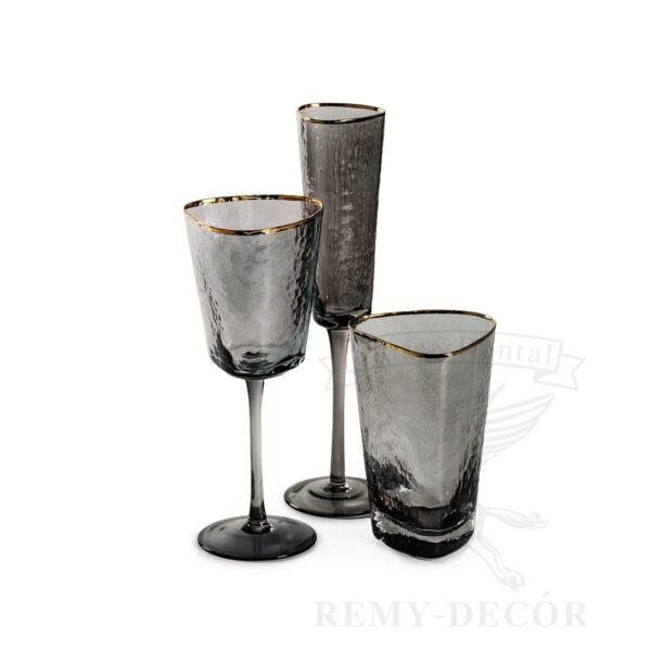 nabor temnyx bokalov dlya vina dlya shampanskogo stakan dlya vody s obodkom
