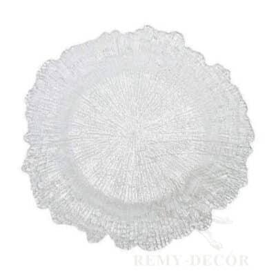 prozrachnyj podtarelnik korall iz stekla tarelka banketnaya