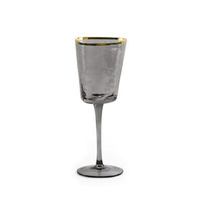 fuzher dlya belogo vina iz temnogo stekla s zolotym obodkom