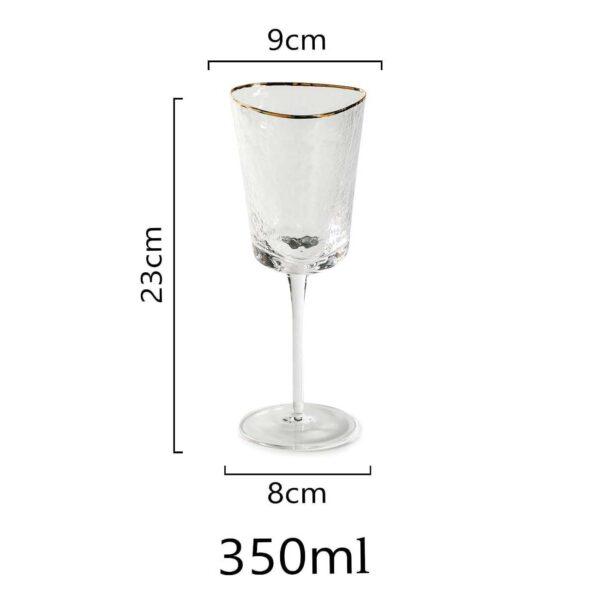 fuzher dlya krasnogo vina iz prozrachnogo stekla s zolotym kantom