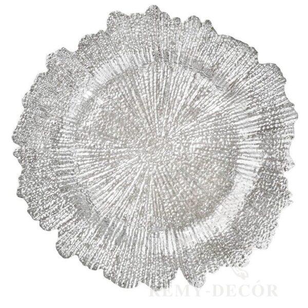 tarelka podstanovochnaya korall serebrenogo cveta