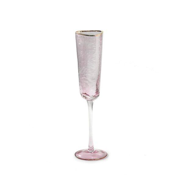 steklyannyi rozovyi bokal dlya shampanskogo s zolotoi kai moi
